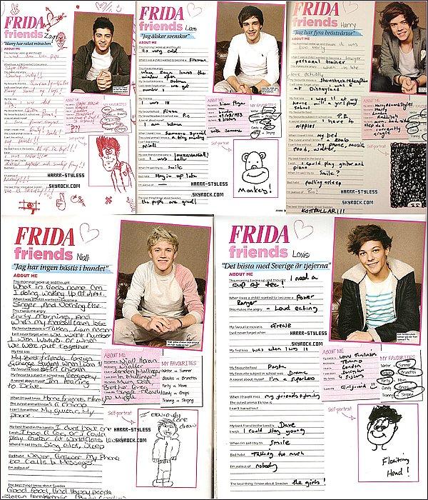 """__ _____ 15/03/12 : Les garçons apparaissent dans le magazine suédois """"Frida Friends"""".."""