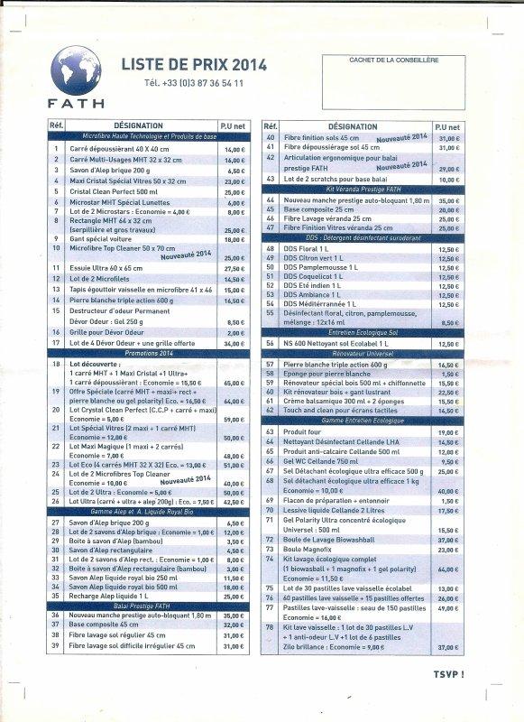 liste prix 2014 et nouveautés