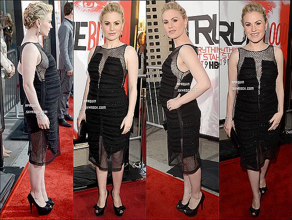 30/05/2012 - Anna était à l'avant-première de la saison 5 de True Blood avec le casting de la série !On remarque que notre futur maman a déjà un petit ventre de grossesse. Elle était vraiment resplendissante, j'adore sa coiffure, top!