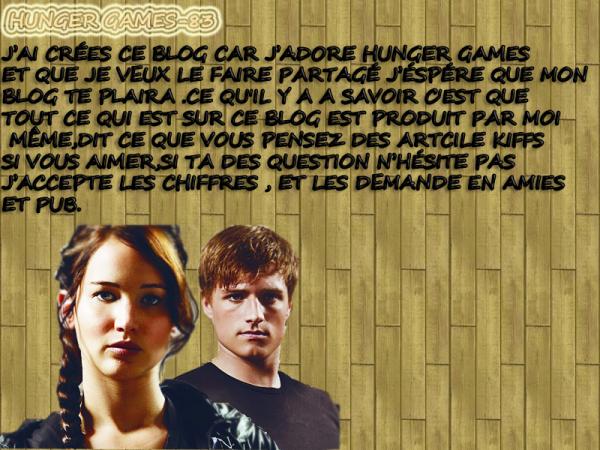 Bienvenue sur mon Blog Hunger Games  !