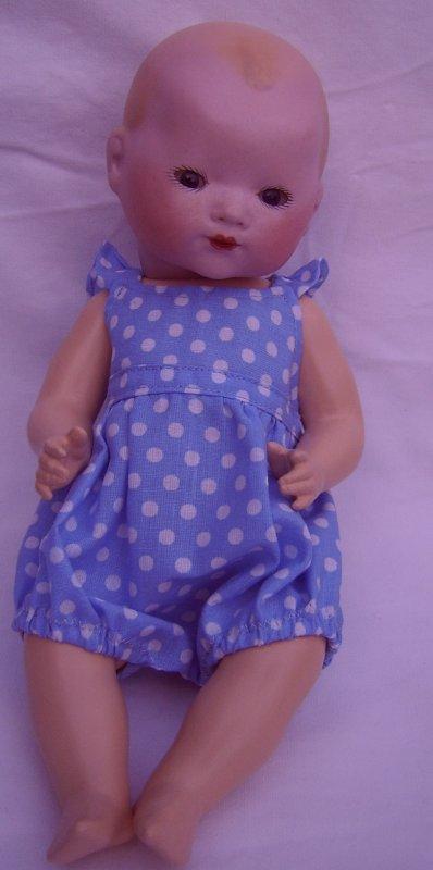bambino ... barboteuse en coton bleu a pois blanc