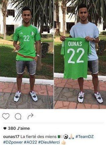 Les photos d'Ounas au dernier match de l'Algérie