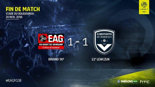 13e journée Ligue 1: 2eme mi-temps 'guingamp 1 - 1 bordeaux) bordeaux n'a fait que defendre  et  et a la 93 eme  guingamp egalise