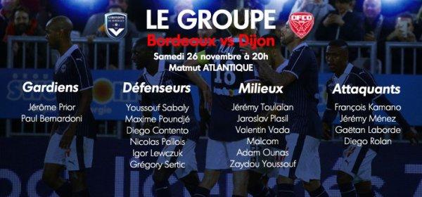 Girondins - 18 joueurs pour Dijon, Pallois et Ounas sont là