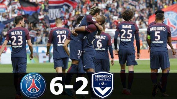 Samedi 30 septembre 2017 ligue 1 Journée 8 :   Neymar5', 40'     Cavani12'     Meunier21'     Draxler45'     Mbappé58'      31'Sankharé     90'Malcom  6-2 Paris SG Bordeaux