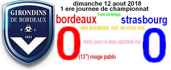 1 ere journee dimanche 12 aout 2018:C'est la mi-temps  bordeaux et strasbourg score nul 0/0