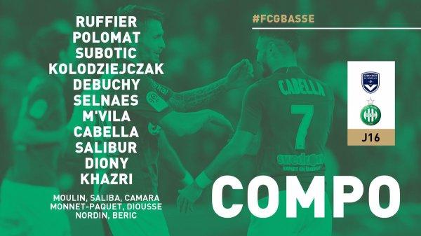 Ligue 1 Mercredi 5 décembre 2018 Journée 16 Bordeaux      Briand22'     Kamano57'     Pablo90'  Saint-Etienne      16'Diony     67'Khazri  3-2