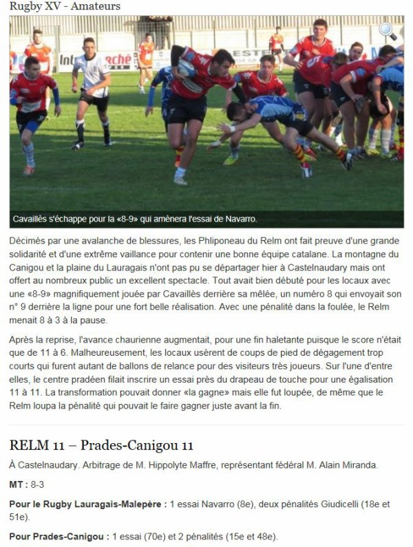 ARTICLE DE PRESSE APRES LE MATCH FACE A PRADES