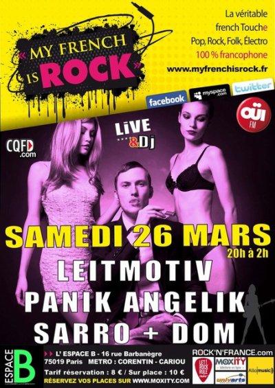 """Prochain concert, le samedi 26 mars à l'Espace B soirée """"My French Is rock"""", Paris!"""