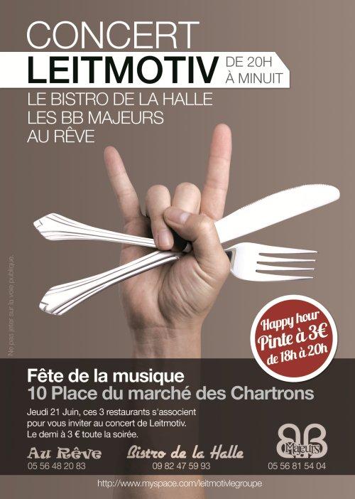 Prochain concert, le jeudi 21 juin sur la place du marché des Chartrons, Bordeaux!