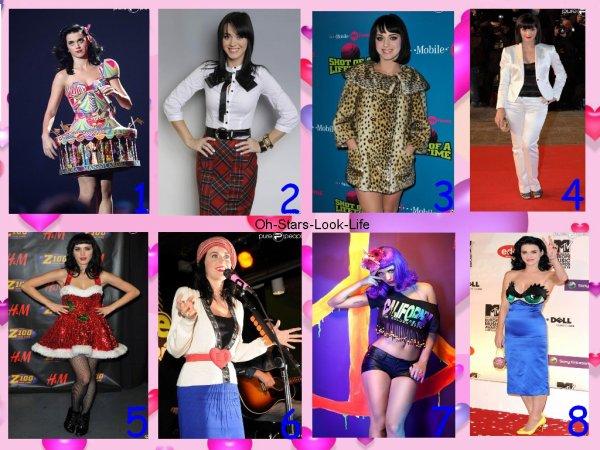Katy Perry et ses Robes plus précisément en Concert ou Albums.