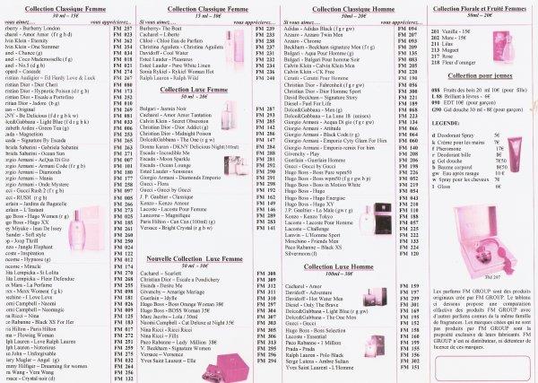 Nouvelle liste des parfums mise à jour à partir du 1er février