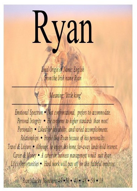 Ryan....Le prénom de mon fils <3