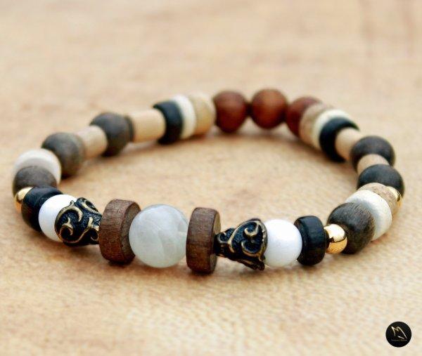 Bracelet perles bois et bronze