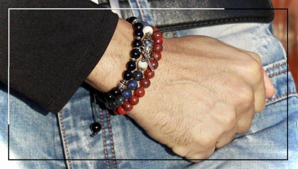 St valentin: bracelet perle pour homme