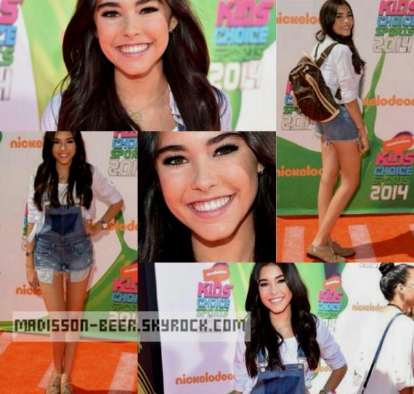 18/07/2014 : Madison était présente au «Kids Choice Sports 2014». Miss Beer avait une très belle tenue mais ses chaussures sont bof..