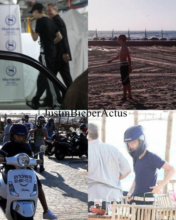 Justin à la plage «Baruch» à Tel Aviv en Israel           Justin est arrivé en Israël il n'y a pas très longtemps. Il à était vu se promenant en scooter sur la plage«Baruch»àTel Avivavec quelques membres de son équipe.  Article rédigé par JustinWorld.net et posté par Kenza