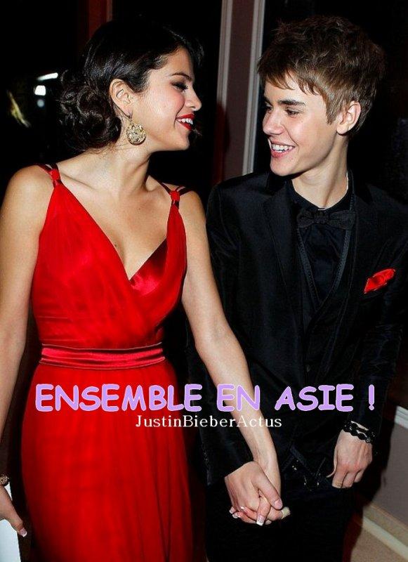 . Selena Gomez va rejoindre Justin Bieber en Asie ! . Les rumeurs vont bon train sur le couple Bieber/Gomez. Depuis des jours, des rumeurs de rupture entre le couple circulent sur Internet. Ce matin, fan2.fr précisait que le couple était toujours ensemble et cela semble se confirmer car Justin Bieber et Selena Gomez seront ensemble sur le même plateau TV la semaine prochaine en Asie. Et même si Selena Gomez tient toujours à ses ex petits amis, il n'y pas d'inquiétude à avoir ! Justin Bieber pourra souffler en compagnie de sa belle après son passage en Israël qui ne s'est pas passé tout à faire comme prévu ! Ah l'amour, c'est beau ! . Article rédigé par Fan2 et posté par Manon.