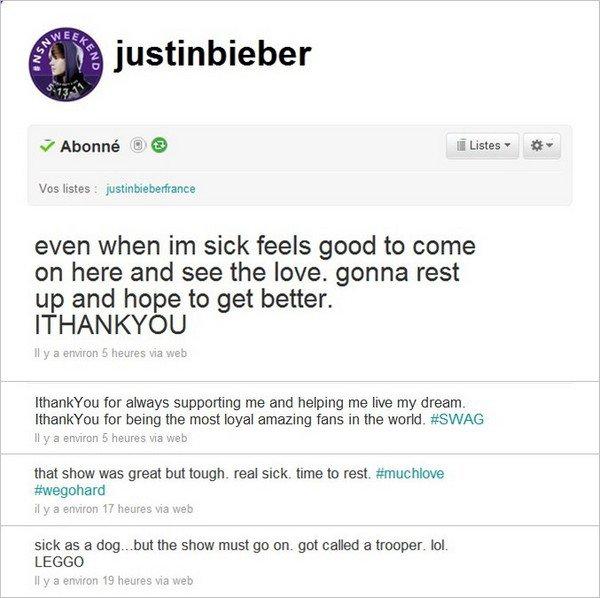 . ___10 Mai. Justin Bieber malade et pourtant sur scène ! . Posté par Manon.