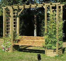 Jardinniere Bois Massif Avec Banc De Liaison Et Claustra Pergolas