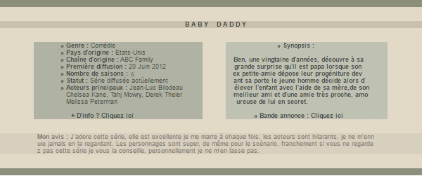 . . . . Baby Daddy. . .  Création    Décoration     Galerie