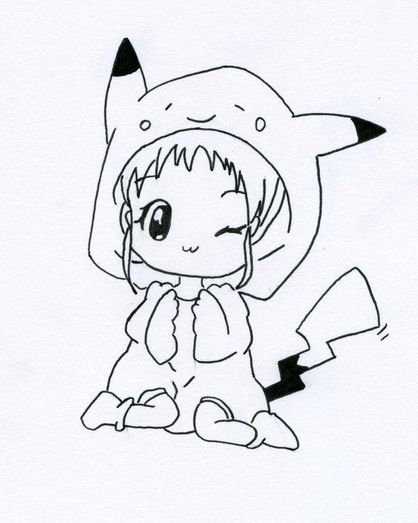 Fille chibi en pikachu