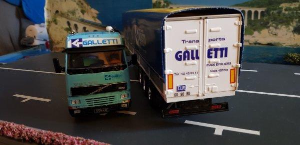 VOLVO FH1 380 GLOBE ET SEMI SAVOYARDE DES TRANSPORTS GALLETTI UNE TRANSFO MAISON SUR BASE ELIGOR / IXO 1/43