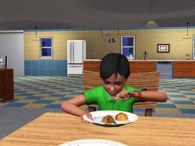 la famille qui mange des ravioli sauf Chris et Britney