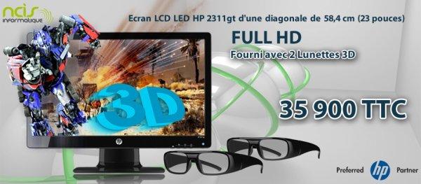 écran 3d avec 2 lunette fourni