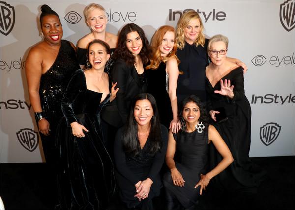 07.01.2018 : Natalie posait avec America Ferrerra qui était enceinte aux « Golden Globes » à Beverly Hills