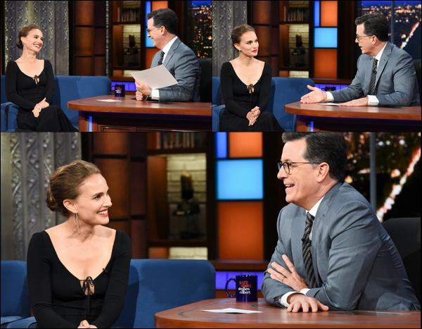 """14.06.2018 : Natalie Portman , très élégante était sur le plateau de l'émission """"The Late Show"""""""