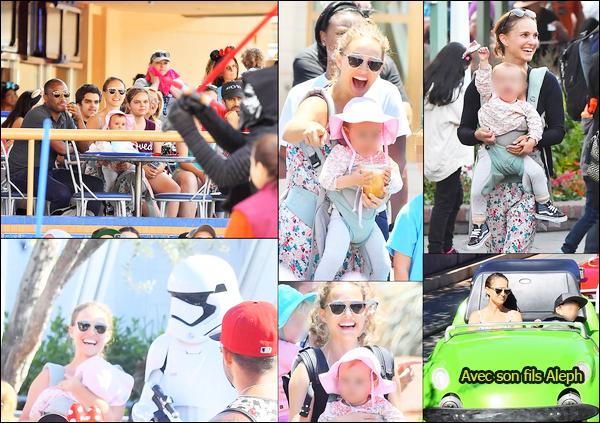 25.06.2018 : Natalie avec son mari , son fils Aleph et sa fille Amalia étaient à Disneyland à Anaheim (Californie)