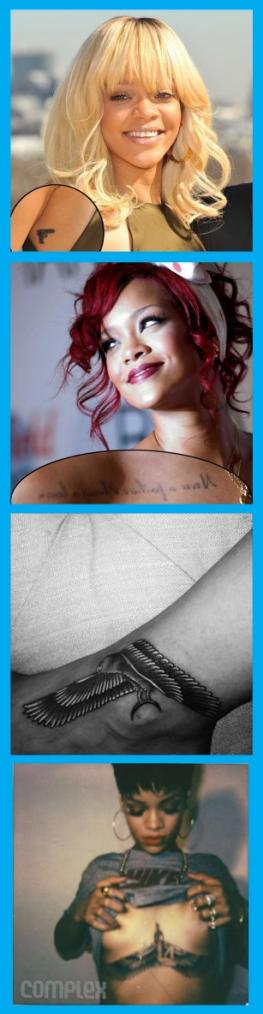 Les 23 tattoos de Rihanna. [mise à jour des données : août 2015]