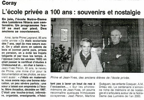 Les centenaires : Ecole N-D des Lumières  (1999)