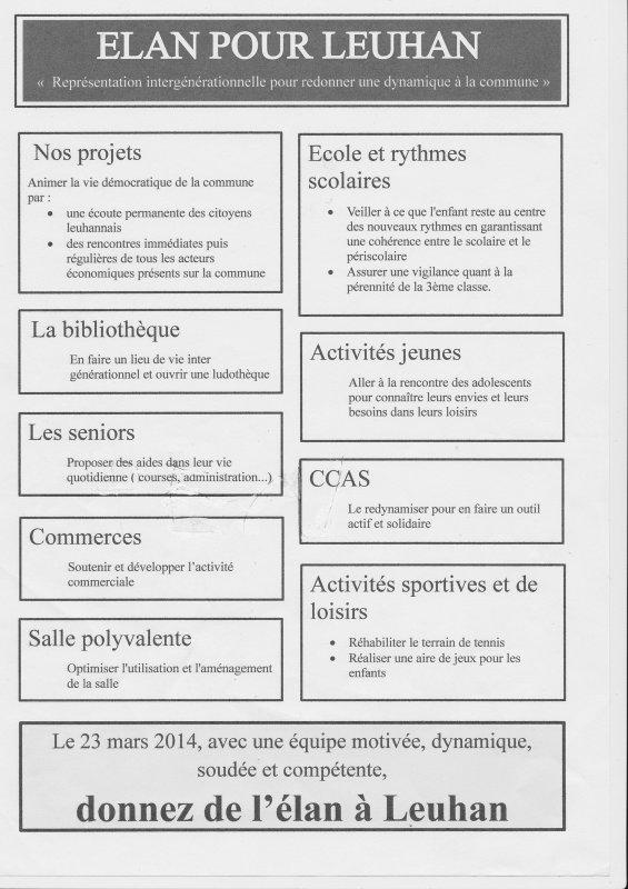 LEUHAN  : Elections Municipales.
