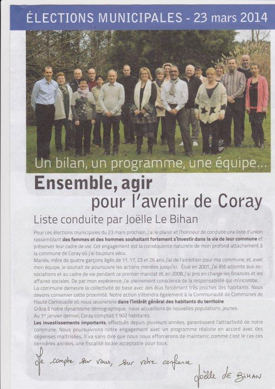 CORAY  : Les programmes des candidats aux municipales.
