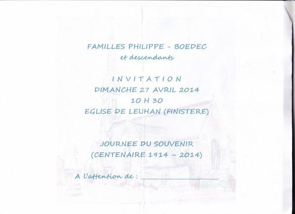 LEUHAN : Cousinade Boëdec-Philippe.