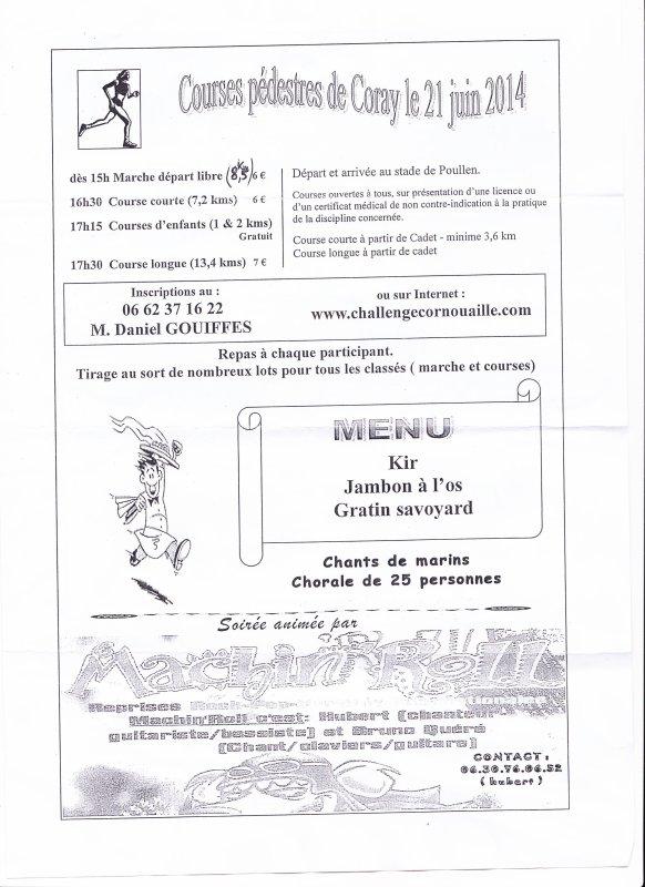 CORAY  : Samedi 21 Juin courses pédestres.