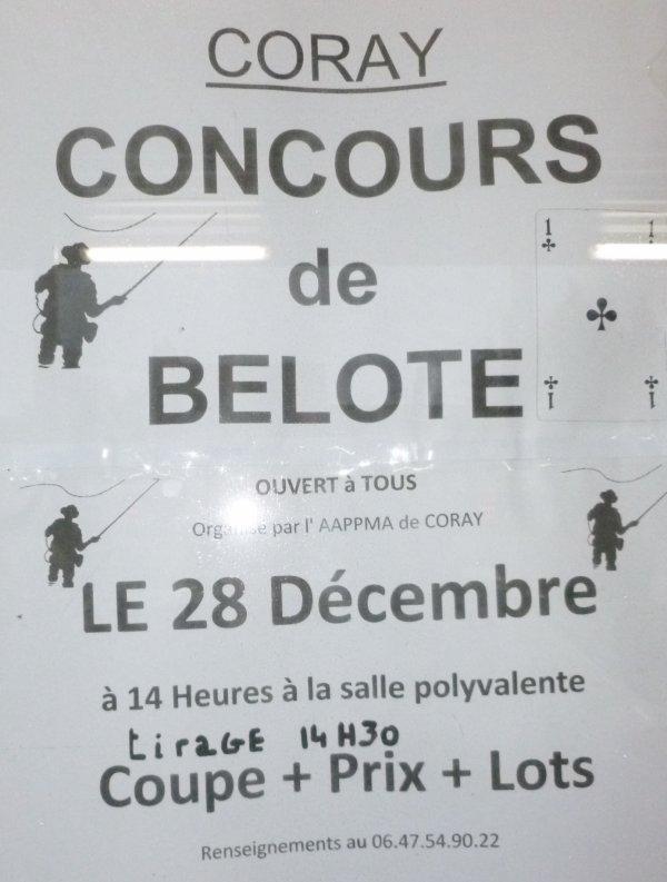 CORAY  : Dimanche 28 décembre concours de belote