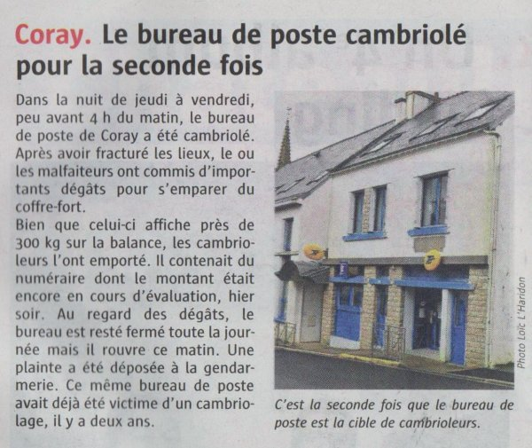 CORAY : Cambriolage.