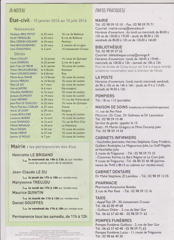 CORAY : Le numéro 41 du bulletin municipal vient de paraître.