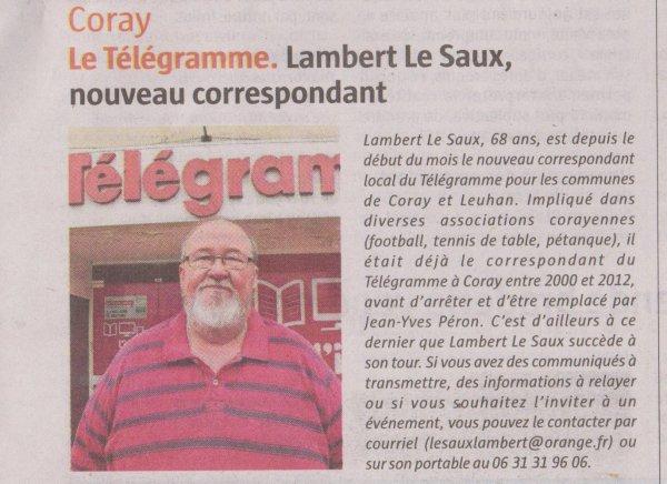 CORAY: Nouveau correspondant.