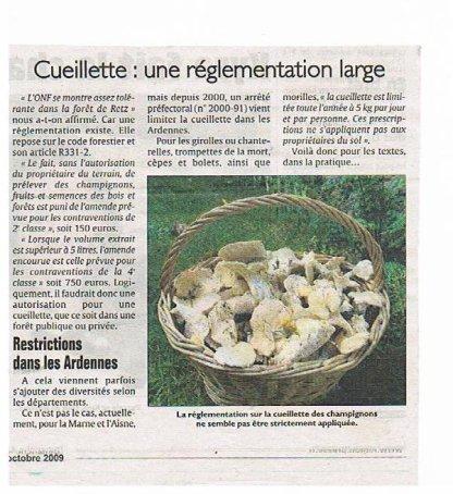 le droit de ramassage de champignons en forets ou propriété privée , la loi est celle ci