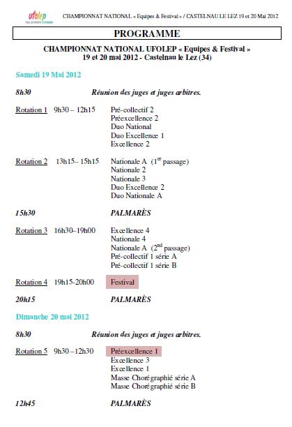 Championnat de France d'équipe 2012. Ordre de passage