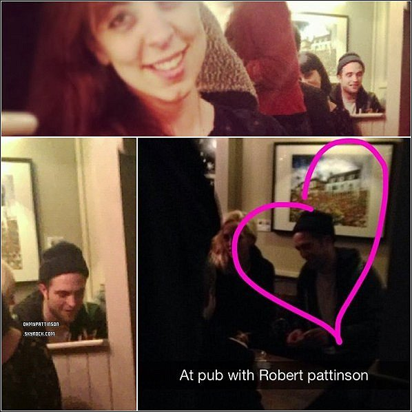 . _24/12/13_ : Des fans ont eu la chance d'apercevoir Robert Pattinson dans un pub londonien. .