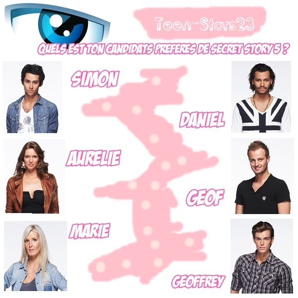 Vote pour ton candidats préférée de Secret Story 5 ♥
