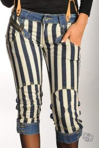 salopettes jean à bretelles rayé