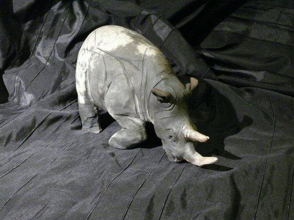 rhino, cuisson raku a 1000°