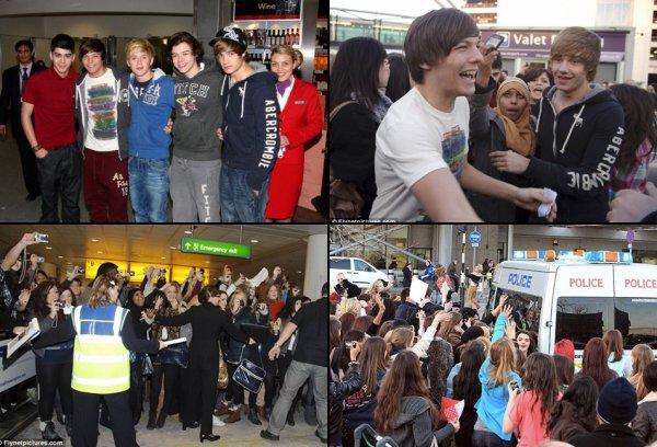Des fans ou plus tot des groupies attendez les OD à leurs arriver a Londres :