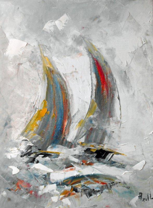 """Tableau bateaux """"Duo de voiles dans la brume"""" - peintures-axelle-bosler"""